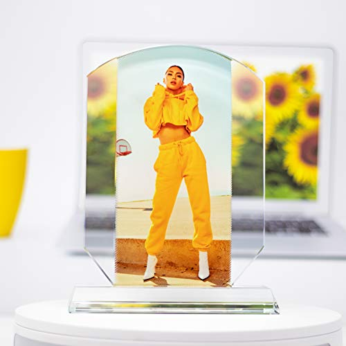 Crystal Print With Your Photo, Office Desktop Decor Personalized Picture Gift On Glass Clear Frame with Stand, Trophy Shape 6x8 Inches