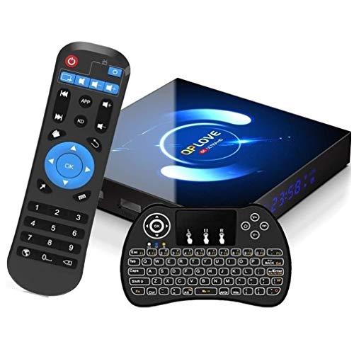 Android TV Box 10.0, QPLOVE Q6 TV Box Android 4GB RAM 32GB ROM H616 Quad Core 64bit CPU Supporto 3D 6K 2.4G 5G Dual WiFi Bluetooth 5.0 H.265 Smart TV Box con Mini Tastiera Retroilluminata