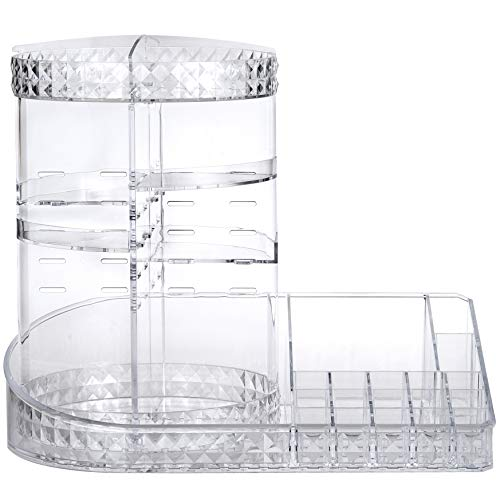 MOSIKER Large 360 Rotating Makeup Organizer With Tray,DIY Adjustable Round Acrylic Clear Cosmetic Display Case,Lazy Susan For Bathroom