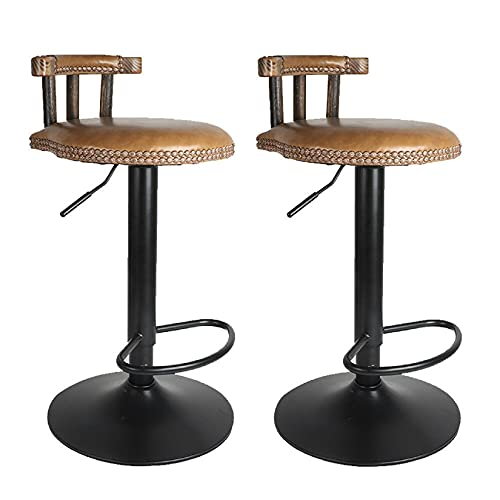 Set of 2 Retro Bar Stools, Industrial Wooden Kitchen Bar Stool for Breakfast and Dinning with Adjustable Height of 60-80cm