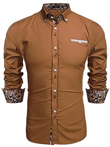 Coofandy Mens Fashion Slim Fit Dress Shirt Casual Shirt Brown X-Large, 01-brown, X-Large