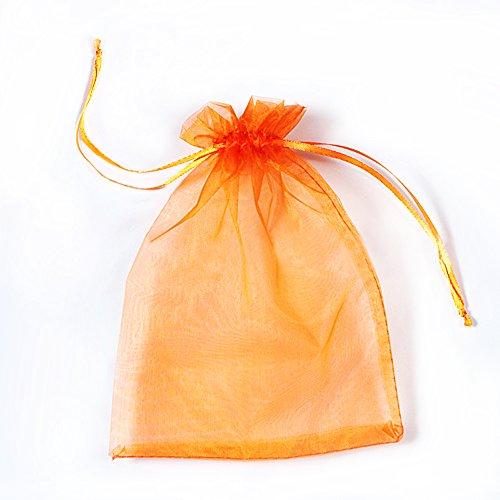 SXUUXB 100 Stück Organzabeutel 16x22cm(6.2x8.6 Zoll), Organza Geschenk Schmuck Beutel Wrap Drawstring Taschen für Hochzeits Bevorzugungs Geburtstagsfeier Festival Geschenk Dekoration (Orange)
