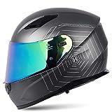 Casco de Moto con Doble Anti Niebla Visera, Cascos Modular Integrado con Visera Reemplazable Casco de Motocicleta ECE Homologado para Adultos Hombres Mujeres 57-64CM