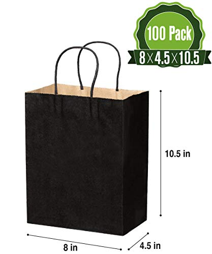 Kraft Paper Gift Bags Bulk with Handles 8 X 4.5 X 10.5 [100Pcs]. Ideal for Shopping, Packaging, Retail, Party, Craft, Gifts, Wedding, Recycled, Business, Goody and Merchandise Bag (Black, 100 Bags)