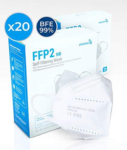 Mascarilla FFP2 - (Caja 20 Unidades). Certificado CE - Ultraresistente ≥99% anti-filtración - Individualmente Embolsado - Mascarillas Desechables