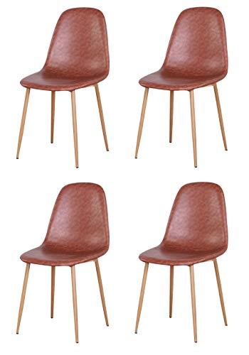 N/A Sillas de Comedor, sillas de salón, sillas de Cocina, sillas de Oficina, Estilo Moderno de Mediados de Siglo, Piel sintética Vintage, marrón, Juego de 4