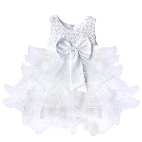 IEFIEL Vestido de Fiesta Boda Comunion Traje de Bautizo para Bebé Niña (3 Meses-4 Años) Vestido Bowknot Tutú de Cumpleaños Vestido Princesa Elegante sin Mangas Blanco A 9-12 Meses