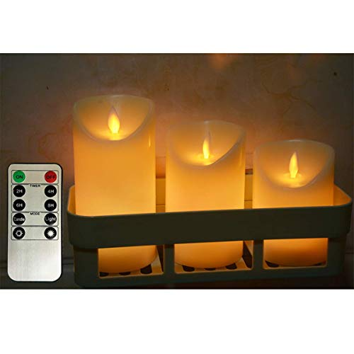Flameless Candles Lights,Battery Operated Remote Control,Timer,Dimmable Indoor flameless Candles,4' 5' 6' Set of 3 Real Wax Not Plastic Pillars Include Realistic Dancing LED Candles(Ivory White)