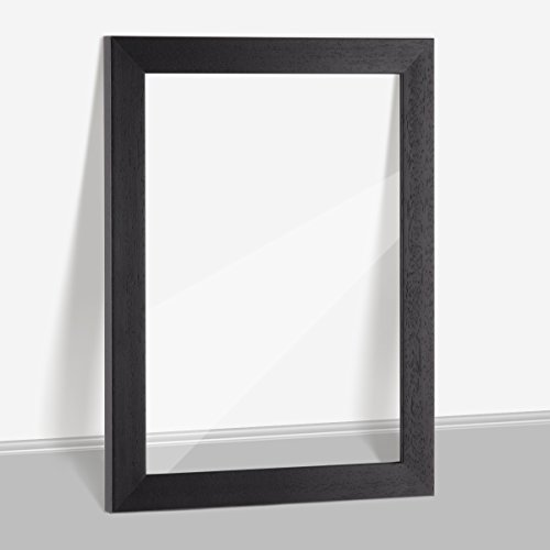 Bilderrahmen Bali Massivholz Doppelglasrahmen durchsichtig mit Doppelglas Acrylglas OHNE Rückwand in 40x50cm Schwarz (matt lackiert)