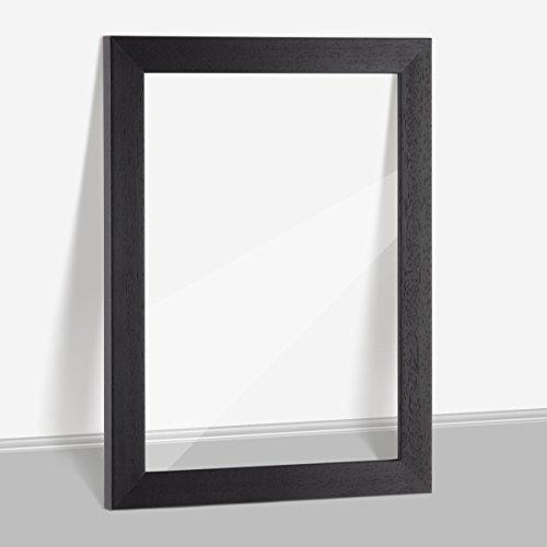 Bilderrahmen Bali Massivholz Doppelglasrahmen durchsichtig mit Doppelglas Acrylglas OHNE Rückwand in 30x40cm Schwarz (matt lackiert)