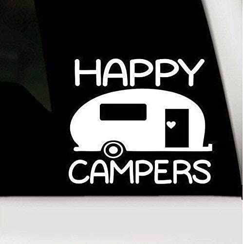 H421ld Calcomanía de vinilo Happy Campers, etiqueta engomad