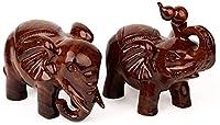QOHG木材彫刻象、ホーム工芸品、贈り物に適しています。意味縁起の良い、31×17.5×20cm(色:a + b)