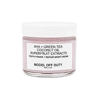 Model off Duty Beauty Youth Power + Repair Night Cream   Neck Cream, Alpha Hydroxy Acids AHA   Organic & Natural Face Moisturizer Creme Anti Wrinkle, Dark Spots, Improved Elasticity, Firmer Skin -2 oz
