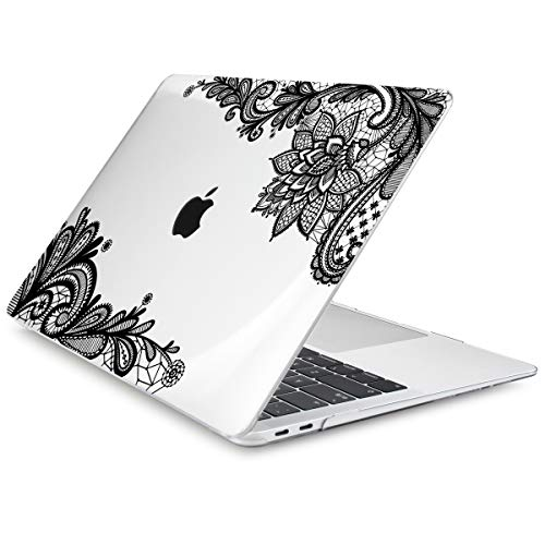Dongke MacBook Pro 13 inch Case 2019 2018 2017 2016 Release A2159 A1989 A1706 A1708, Black Lace Crystal Clear Hard Shell Cover & Keyboard Cover Compatible with MacBook Pro 13' with/Out Touch Bar