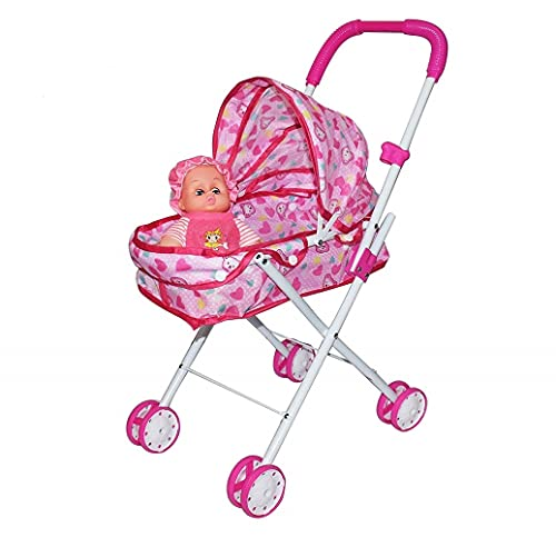 Black Olive Baby Doll Stroller Foldable Baby Pram for Baby Age 3 Years & Above Fully Assembled Pretend Play Carrier Stroller Toy with Baby Doll for Girls & Boys