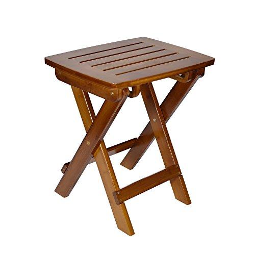 Geboor Taburete de bambú portátil Taburete impermeable para el juego de ducha...