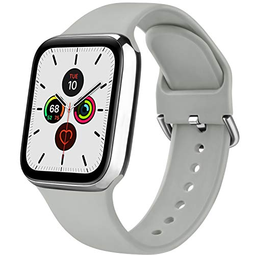 Senka Silicona Correa Compatible con Apple Watch 38mm 42mm 40mm 44mm, Pulseras de Repuesto Silicona Suave Deportiva para iWatch Series 6 5 4 3 2 1,Hombre y Mujer(Ceniza Roca,38mm/40mm S/M)