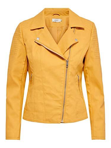 ONLY Damen Kunstleder-Jacke Melanie Biker mit Kragen 15191828 golden apricot 38