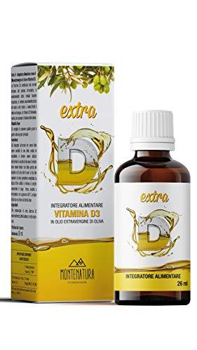 MONTENATURA® Extra D   Vitamina D3 in Gocce   2000 UI Giornaliere   5 Mesi di Fornitura   100% Naturale e Vegetale   Qualità Italiana