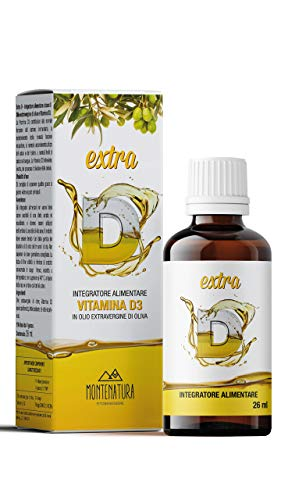MONTENATURA Extra D   Vitamina D3 in Gocce   2000 UI Giornaliere   5 Mesi di Fornitura   100% Naturale e Vegetale   Qualità Italiana