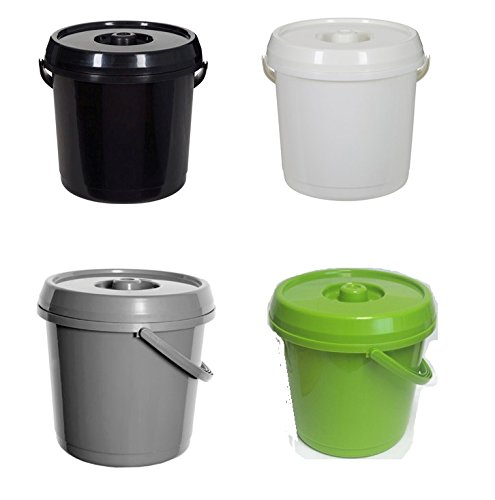 Whitefurze Bucket with Lid, 14 Litre, Cream