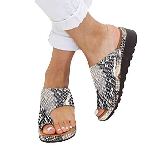 CHENtian1 2021 Sandales Plates Femmes Confortable Orthopedique Chaussures Plateforme Femmes Sandales Plates Toe T-Sangle Comfy Semi Sandales Chaussures Plage Femmes été Cuir Sandales Plage Piscine