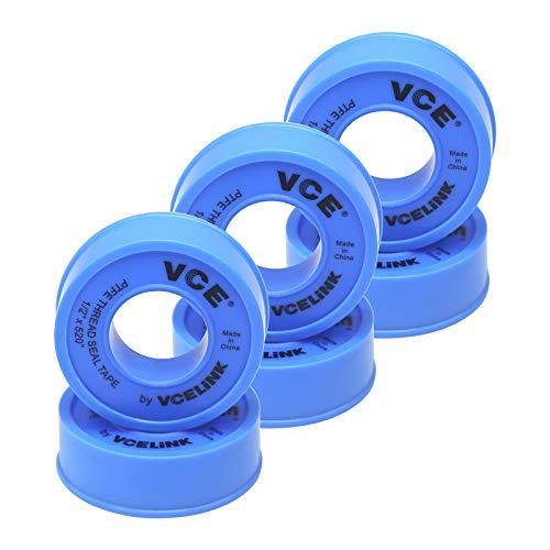 VCELINK Teflon Idraulico In PTFE, Teflon Nastro Adesivo di PTFE ad Alta Densità per Riparare Tubi, Tubi, Rubinetti, Valvole Radiatore, 12 mm x 13 m, 6 Rotoli, Blu