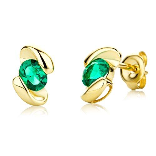 Miore Ohrringe Damen Gelbgold 9 Karat / 375 Gold Ohrstecker Smaragd
