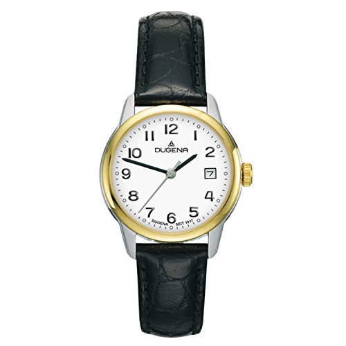 Dugena Damen Armbanduhr Vega Leder 29mm schwarz-silber-gold