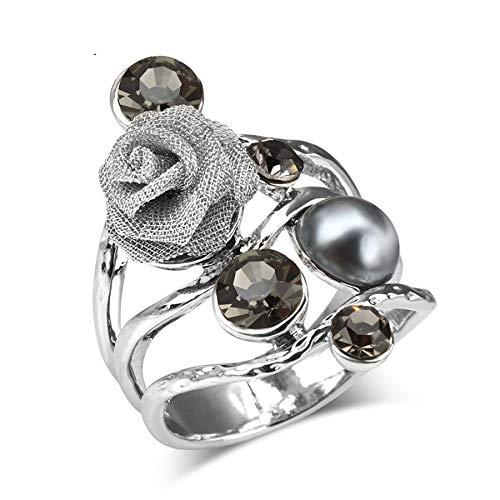 GMZWW Boheemse grote kristallen ringen voor vrouwen antiek zilver kleur ingelegd parels Rose Vintage trouwring sieraden