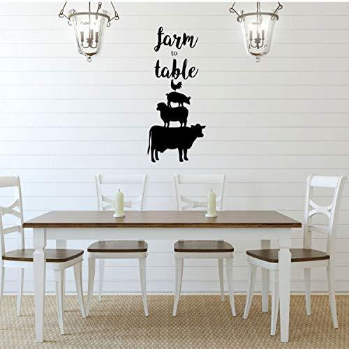 Wandtattoo für Esszimmer, Bauernhof, auf Tisch, Huhn, Schwein, Schaf, Kuh, Silhouette, Vinyl, Kunst-Dekoration für Zuhause, Schlafzimmer oder Familienzimmer