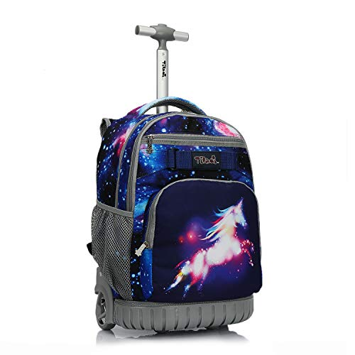 Tilami Rolling Backpack 19 inch Wheeled LAPTOP Boys Girls Travel School Student Trip, Unicorn