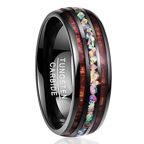 NUNCAD Wolfram Ring Damen/Herren schwarz 8mm, Ring Unisex mit Opalsteine und Koaholz zum Mosaik für Hochzeit, Verlobung, Lifestyle und Fashion, Größe 57