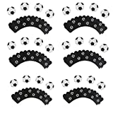 Set of 24 Soccer Ball Cupcake Toppers and Wrappers Football Themed Sports Birthday Party Cupcake Decorations