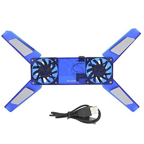 Soporte de Enfriamiento para Computadora Portátil Ventilador Doble, Almohadilla de Enfriamiento Plegable Cable USB Disipador de Calor para Computadora DR ‑ 2008F(Azul)