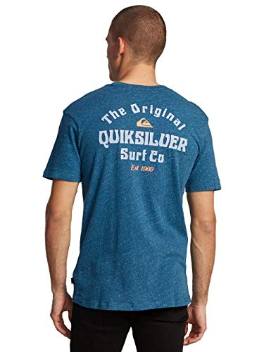 Quiksilver Energy Project T-Shirt Homme, Majolica Blue Heather Modèle M 2020 T-Shirt Manches Courtes