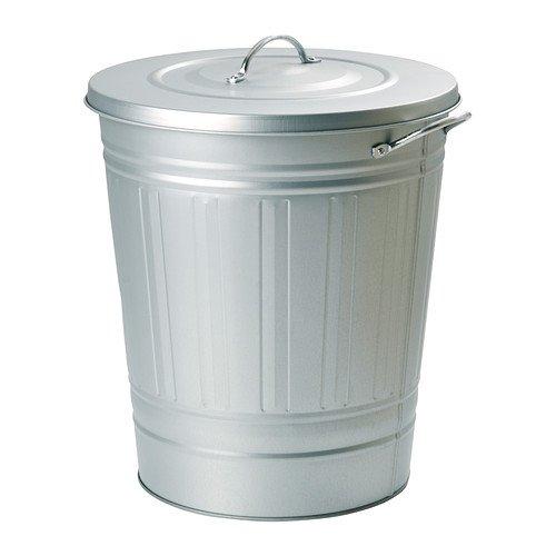 レトロ ふた付きゴミ箱 収納 分別ゴミ箱 資源ごみ ブリキ風 亜鉛メッキ バケツ型ペール シルバー 40Lの写真