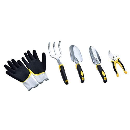 MeiJia 5 Piece Aluminum Hand Garden Tool Set,Tool Kit,Including Transplanting Spade, Trowel, Cultivator, Pruner and Gardening Gloves