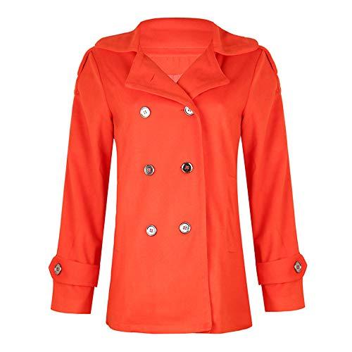 DISCOUNTL Women's Lapel Double-Breasted Jacke Damen College Jacke Damen Kurze Oversize Jacke Damen 3XL jacken Damen Casual Woolen Coat Coat