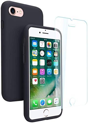 AURSTORE Coque pour iPhone 6/6S en Silicone Liquide avec Protecteur D'écran en Verre Trempé (Noir)