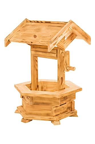 Holzbrunnen für den Garten, Gartenbrunnen aus Holz, Deko Brunnen, Gartendeko witterungsbeständig, mit Dach, (natürlich)