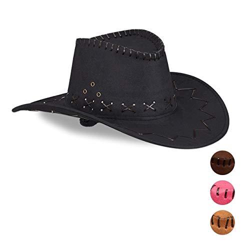 Relaxdays 1 x Cowboyhut Fasching, Westernhut, für Erwachsene, im Westernstyle, Karneval, mit Kopfband, Faschingshut, schwarz