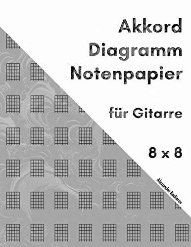 Akkord Diagramm Notenpapier für Gitarre: 8 x 8