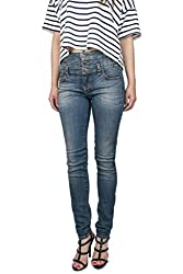 Eunina Jeans Women's High Waisted Stretch Skinny Denim Jeans, Medium Blue Wash