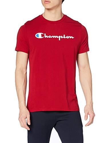 Champion Hombre - Camiseta Classic Logo - Rojo, M