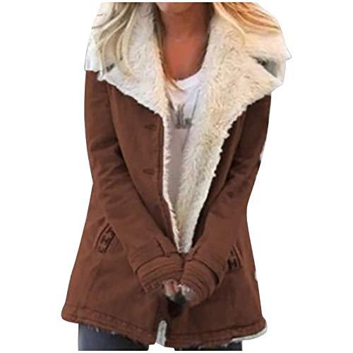 Women Faux Lined Coat Lapel Buttons Coat Winter Jacket Warm Parkas Short Overcoat Outwear Brown