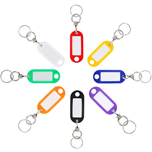 Uniclife 16 Pack Swivel Plastic Key Tags with Rotating Split Rings Label Window