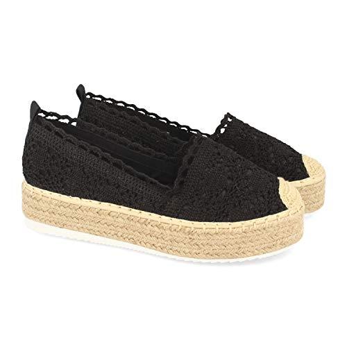 shoes&blues.es 48056-Espadrille Plateforme pour Femme avec Jute, Coupe avec Dentelle Tricotee, Pointe Crochet et Semelle en Caoutchouc Confort. Printemps ete 2020. Taille 37 Negro