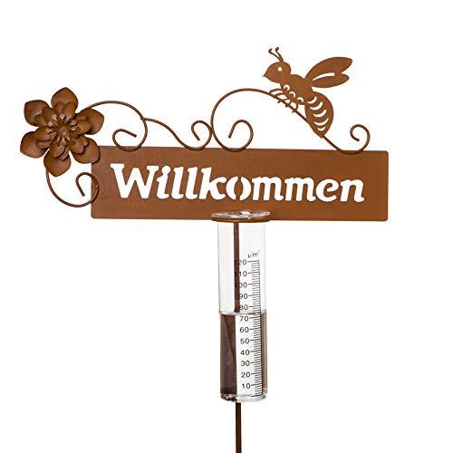 Metall Stecker. WILLKOMMEN, Blume und Biene. Roststecker, edelrost. REGENMESSER Niederschlaggsmesser ca 110 cm.