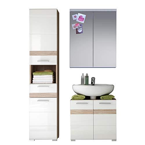 trendteam smart living  1336-908-96 Badezimmer Kombination, Holz, weiß / korpus und absetzungen / eiche san remo hell, 34 x 110 x 182 cm